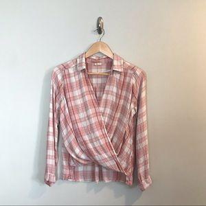 Hollister Pink Plaid Wrap Front Flannel Shirt M